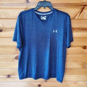 Under Armour Heat Gear Blue Loose V Neck T Shirt